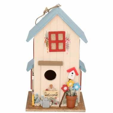 Houten vogelhuisje/vogelhuisje wit/blauw 26 cm