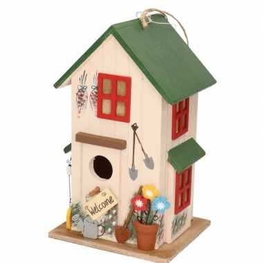 Houten vogelhuisje/vogelhuisje wit/groen 26 cm