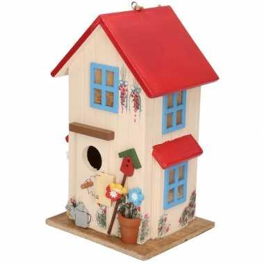 Houten vogelhuisje/vogelhuisje wit/rood 26 cm