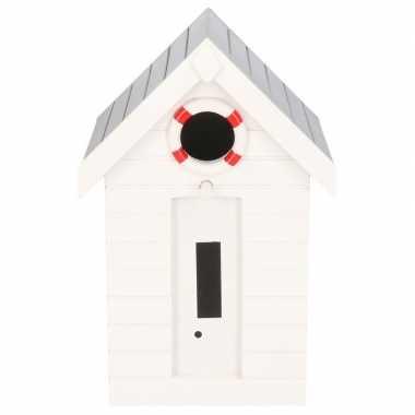 Houten vogelhuisje/vogelhuisje wit strandhuisje 21 cm