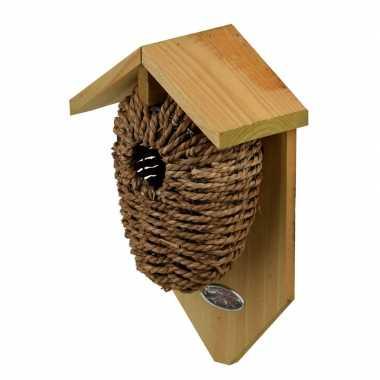 Houten vogelhuisjes/nestbuidels zeegras 26 cm