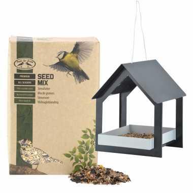 Metalen vogelhuisje/voedertafel hangend antraciet 23 cm met vogel strooivoer 2,5 kg