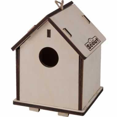 Pakket van 4x stuks 2 in 1 vogelhuisje/vogelhuisje van hout 14 x 19 cm diy
