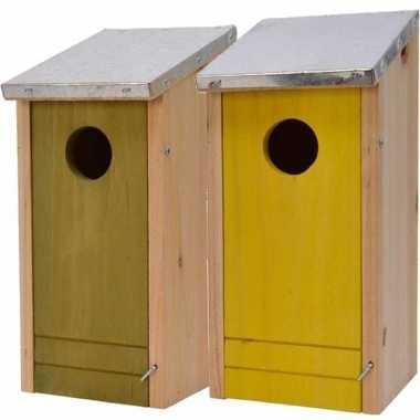 Set van 2 houten vogelhuisje/vogelhuisje 26 cm geel/groen