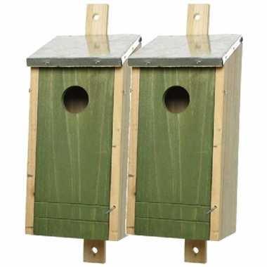 Set van 2 houten vogelhuisje/vogelhuisje donkergroen 26 cm