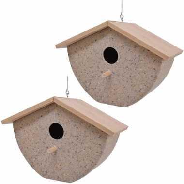 Set van 2 vogelhuisjes/vogelhuisjes bamboe/koffieschil beige 21cm