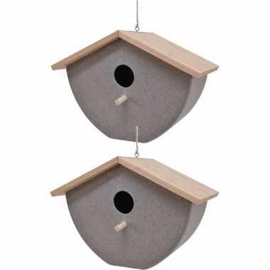 Set van 2 vogelhuisjes/vogelhuisjes bamboe/stro grijs 21cm