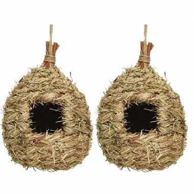 Set van 2 vogelhuisjes/vogelhuisjes stro druppelvorm 23 cm