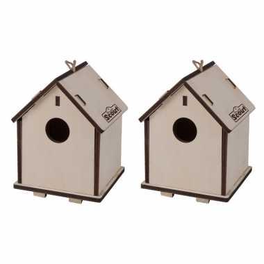Set van 2x stuks 2 in 1 vogelhuisjes/vogelhuisjes van hout 14 x 19 cm diy