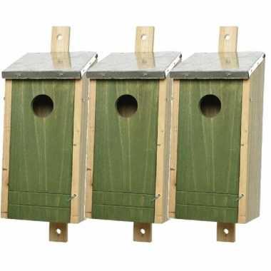 Set van 3 houten vogelhuisjes/vogelhuisjes donkergroen 26 cm