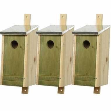 Set van 3 houten vogelhuisjes/vogelhuisjes lichtgroen 26 cm