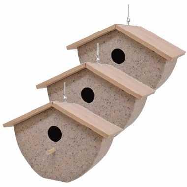 Set van 3 vogelhuisjes/vogelhuisjes bamboe/koffieschil beige 21cm