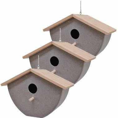Set van 3 vogelhuisjes/vogelhuisjes bamboe/stro grijs 21cm