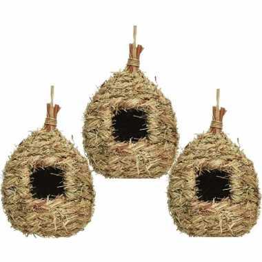 Set van 3 vogelhuisjes/vogelhuisjes stro druppelvorm 23 cm