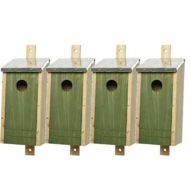 Set van 4 houten vogelhuisjes/vogelhuisjes donkergroen 26 cm