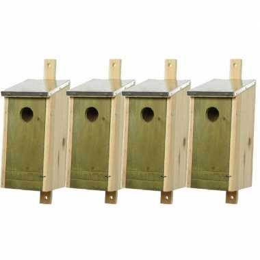 Set van 4 houten vogelhuisjes/vogelhuisjes lichtgroen 26 cm