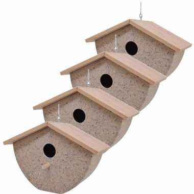 Set van 4 vogelhuisjes/vogelhuisjes bamboe/koffieschil beige 21cm