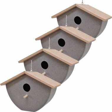 Set van 4 vogelhuisjes/vogelhuisjes bamboe/stro grijs 21cm