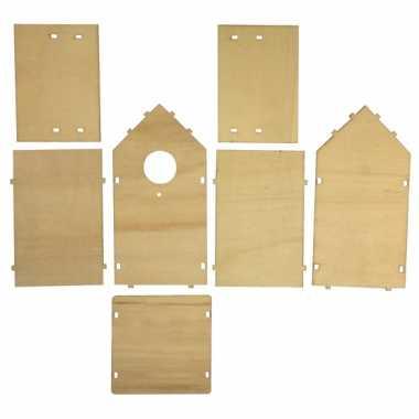 Set van 4x stuks vogelhuisje om zelf te bouwen