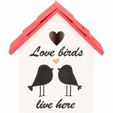 Spaarpot houten vogelhuisje rood 20 cm