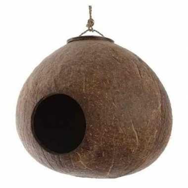 Vogelhuisje kokosnoot aan hanger 16 cm tuin decoraties