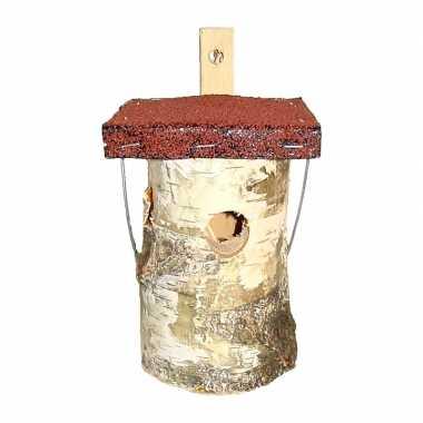 Vogelhuisje/nesthuisje grijs dak berkenhout 25 cm