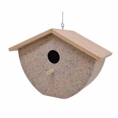 Vogelhuisje/vogelhuisje bamboe/koffieschil beige 21cm