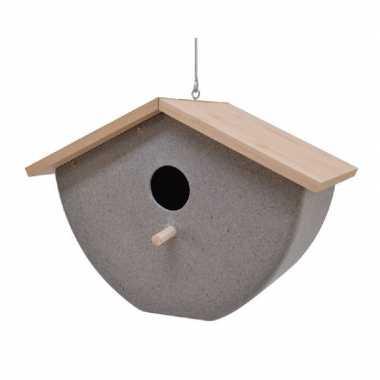 Vogelhuisje/vogelhuisje bamboe/stro grijs 21cm