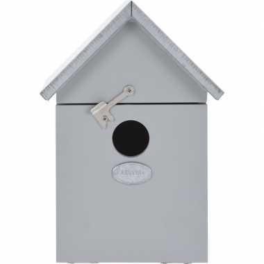 Vogelhuisje/vogelhuisje grijs 20 cm met puntdak