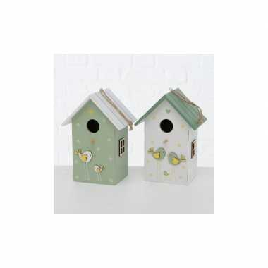 Vogelhuisje/vogelhuisje hout groen met wit dak 15 x 12 x 22 cm