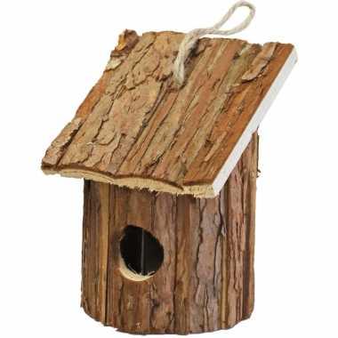 Vogelhuisje/vogelhuisje hout rond naturel bruin 10 x 11 x 16 cm