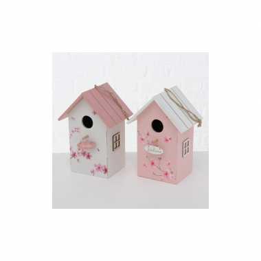 Vogelhuisje/vogelhuisje hout wit met roze dak 15 x 12 x 22 cm