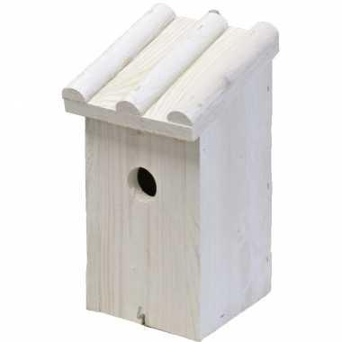 Vogelhuisje/vogelhuisje hout wit ribdak 14 x 16 x 27 cm