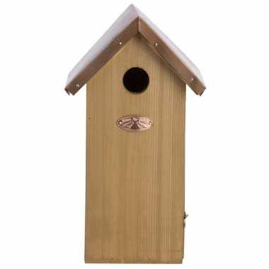 Vogelhuisje/vogelhuisje koolmees koperen dakje 30 cm