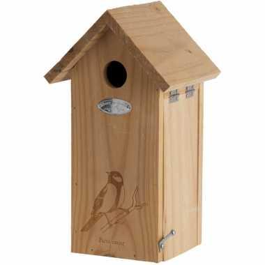 Vogelhuisje/vogelhuisje koolmees met silhouet 30 cm