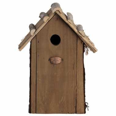 Vogelhuisje/vogelhuisje koolmees rieten dakje 31 cm