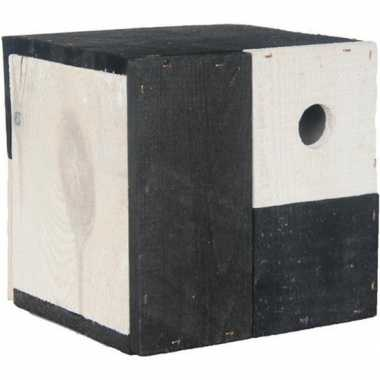 Vogelhuisje/vogelhuisje kubus zwart/wit 18 x 18 x 18 cm