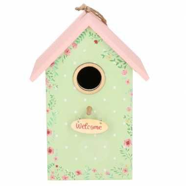 Vogelhuisje/vogelhuisje mintgroen/roze 22 cm