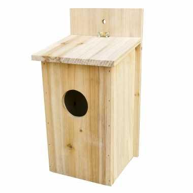 Vogelhuisje/vogelhuisje naturel hout 30 cm