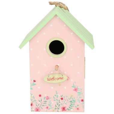 Vogelhuisje/vogelhuisje roze/mintgroen 22 cm