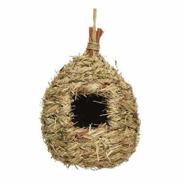 Vogelhuisje/vogelhuisje stro druppelvorm 23 cm