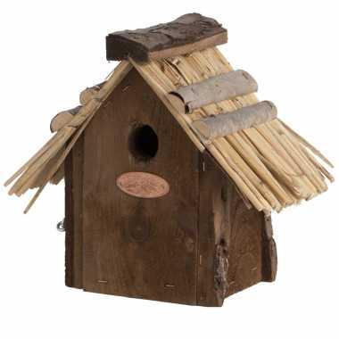 Vogelhuisje/vogelhuisje winterkoning rieten dakje 20 cm