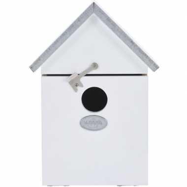 Vogelhuisje/vogelhuisje wit 20 cm met puntdak