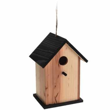 Vogelhuisje/vogelhuisje zwart/naturel hout 22 cm