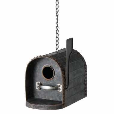 Vogelhuisje/vogelhuisjes brievenbus zink 16 cm