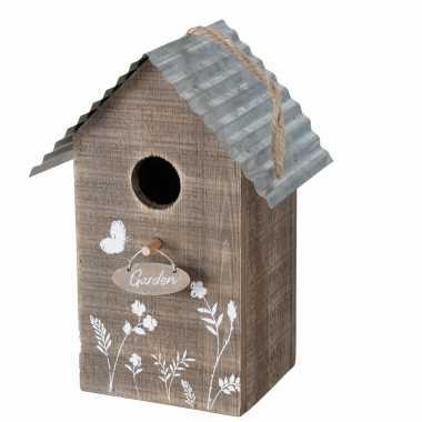 Vogelhuisje/vogelhuisjes garden bruin hout 22 cm