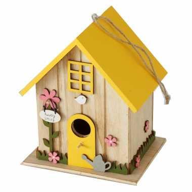 Vogelhuisje/vogelhuisjes geel hout 18 cm