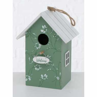 Vogelhuisje/vogelhuisjes groen/wit hout 22 cm