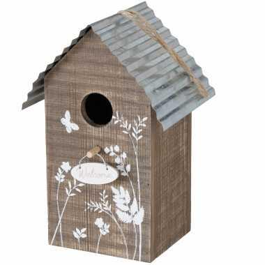 Vogelhuisje/vogelhuisjes welcome bruin hout 22 cm