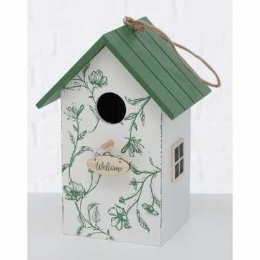 Vogelhuisje/vogelhuisjes wit/groen hout 22 cm